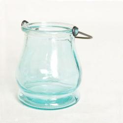 Vidrio de color azul Storm-Lantern entrega Candelabro