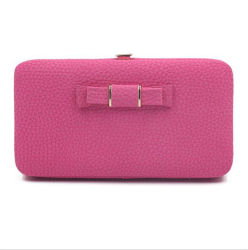 Plegable de moda señoras bolso pequeño con cremallera cuero de PU de bloqueo del embrague del titular de la tarjeta monedero señora de la bolsa tiene teléfono