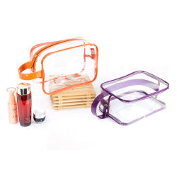 Zipper PVC transparente artículos de tocador de viajes Bolsa transparente de la bolsa de Organizador de bolso con asa