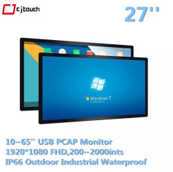 10-touch USB Driver Free Infrared IR 27 Zoll kapazitiver Pcap Whiteboard Kiosk Smart TV Touchscreen LCD LED Monitor
