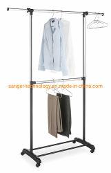2-barra ajustable Perchero - Rolling ropa Organizador - cromo y negro