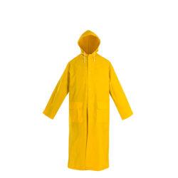 広州の黄色いレインコートのRainwear PVC雨ポンチョ岬