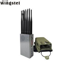 A banda de múltiplos 12 antena GSM WiFi GPS Jammer Portable 3G 4G 5g telefone celular Bluetooth RF Remote Lojack Disjuntor Bloqueador de sinal de telefone móvel