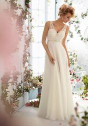 Cordão de renda superior Beach Garden vestido de noiva Esparguete Precintas Backless Suite Noite Império vestido Maternidade vestido de casamento