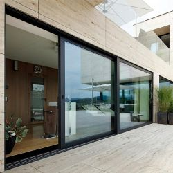 Große schwarze Aluminiumindien-Entwurfs-Standardgrößen-horizontale schiebendes Glas-Tür für Haus-Äußer-Balkon