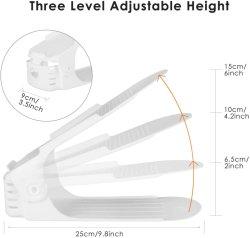 Tragbarer Kunststoff Double Layer Rutschfeste Lagerung Regal Schuh Slot Platz Sparschuh-Rack Organizer Kunststoff-Schuhhalter