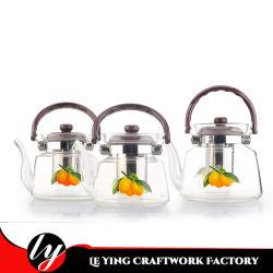 Caldaia termoresistente 600ml del POT del tè del fornitore con la teiera di vetro di Borosilicate della maniglia della bachelite e del filtrante degli ss