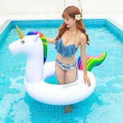 유니콘 수영 링 두꺼운 PVC 불팽창식 수영 링 물 팽창식 유니콘 플로팅 로우
