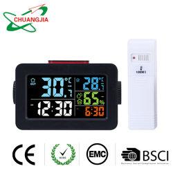 Termómetro exterior interior con el medidor de humedad y reloj despertador