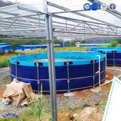 Acquario della vetroresina del serbatoio dell'impresa di piscicolture di prezzi di fabbrica della Cina che coltiva i serbatoi di pesci dal comitato, dal bullone e dalle noci d'acciaio ondulati, serbatoio di vescica dell'acqua di PVC/Tarpaulin/TPU