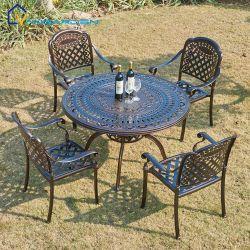 Waschbarer Metallrahmen-im Freien Gussaluminium-runder Tisch-gesetzte Sitze 4 für Patio-Bistro-Stuhl