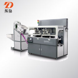 Cylindrique de 3 couleurs de haute précision Sérigraphie Machines pour tubes et bouchons de bouteilles avec séchage UV