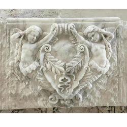 Mur de pierre sculpture en marbre sculptures de fleurs de secours