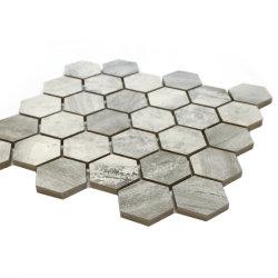 Cinzento tempestade mosaico de azulejos de mármore rústico Sextavada