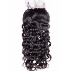 4*4 de la Dentelle de fermeture de l'homme brésilien Remy Hair Fermeture d'onde de l'eau naturelles