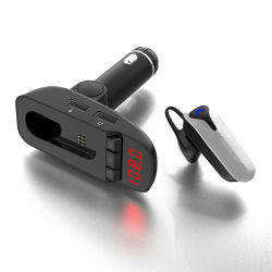 Bluetooth 핸즈프리 차량용 키트 차량용 충전기 FM 송신기 MP3 플레이어
