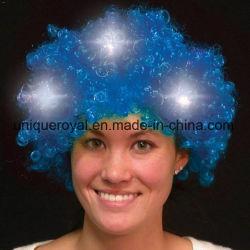 Blau leuchtet LED-Spiritus-Kostüm-Perücke