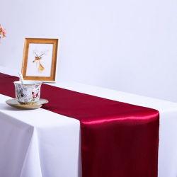 블루 컬러 가든 홈 연회 접이식 테이블 사틴 러너 장식