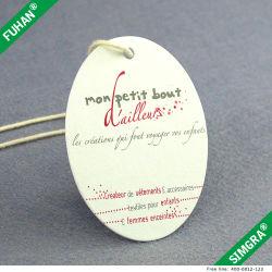 Peça de vestuário personalizado Oval Die corte de papel Hangtag Swing