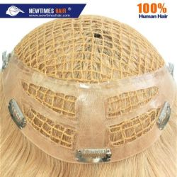 Blonde PET Zeile mit PU befestigt Integrations-Qualitäts-Menschenhaar-Perücke
