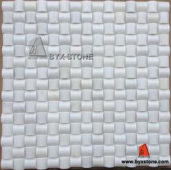 Mosaico de piedra blanco de la pared del mármol del jade y del azulejo de la cocina