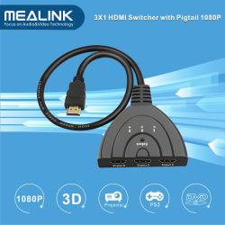 1080P 3X1 HDMI коммутатор с коротким кабелем HDMI