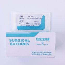 Produits médicaux jetables non résorbable stérile tressé en soie de suture chirurgicale