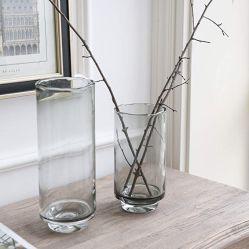 Hauptvasen-grauer Glasblumen-Anordnungs-Zylinder-Vase mit geplätschertem Mund-Dekor-Tisch-Mittelstück-Kerzenhalter-Akzent für das Speisen von Wohnzimmer-Hochzeits-Haushaltswaren