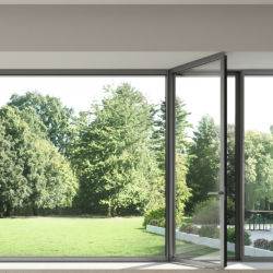 Договорная современных серый/черный/белый полностью застекленное алюминиевая рамка поворотного Французские двери для продажи