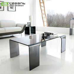 Gray refoulées Table basse en verre avec 4 pattes