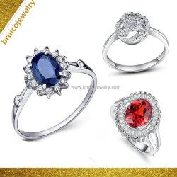 Einfache silberne Ring-Schmucksachen des Schmucksache-Form-Frauen-nachgemachte Diamant-925 mit Edelstein