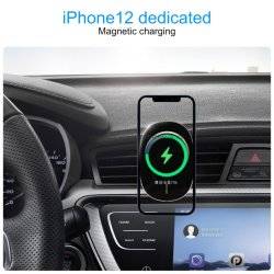 Magnetische Wireless-Kfz-Ladegerät, 15W schnell aufladbare Luft Entlüftungsstutzenhalter kompatibel mit iPhone 12/12 Mini/12 pro/12 pro Max, Handy Auto-Spanner Auto-Halterung C