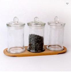 Cartouche en verre Set de 3 Stockage en verre pot avec socle en bois de la cartouche en verre
