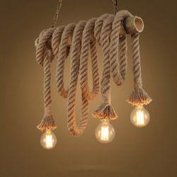 L'énergie de l'enregistrement source de lumière et de matériel de bambou bambou teintes de corde de chanvre d'éclairage Lampe trois tête lampe de la poignée de commande