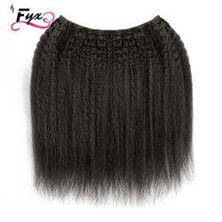 販売のインドのRemyの熱い毛のねじれた直毛はブラジルの毛のよこ糸を束ねる