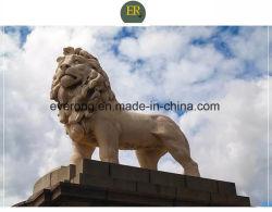 Animal de piedra de granito tallado de León para jardín