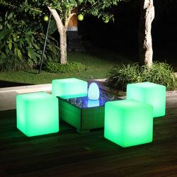 Siège éclatant en plastique dés Cube LED lumière LED de selles mobilier 43cm dés Président