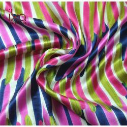 Цветные женщины ткань материал 100 чистого шелка Charmeuse Атласная ткань полосы печати африканских стран