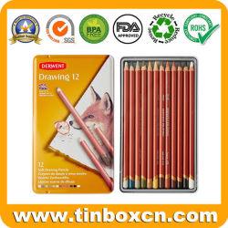 Crayon de couleur personnalisée Crayons coffrets cadeaux de cas d'étain métallique