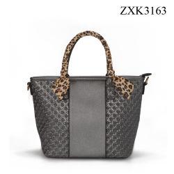 Frauen-Webart-Beutel mit Leopard-Schal-Damentote-Handtasche