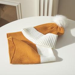 Cappello e sciarpe lavorati a maglia inverno arancione di modo di alta qualità per le donne