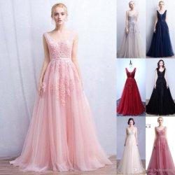 Розовый Тюль Группа Prom Gowns чисто горловины вечерние платья шарик Платье вечернее платье кружево свадебной Vestidos Gowns