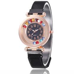 Form-Magnet-Uhr für Frauen-Luxuxdame-Armbanduhr-Quarz-Taktgeber-weibliche Uhr-runde Kristalluhr-Partei-Zubehör