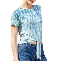 Женские Knotted Tie-Dye футболки короткие втулки Топс футболки на заказ