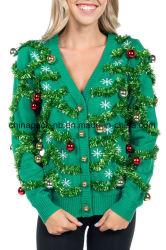 De la mujer Gaudy Garland Cardigan horrible suéter de Navidad
