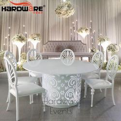A luz de LED da vela aquecedora ronda de metal de ferro mesa de jantar de vidro temperado