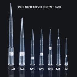 Rack en laboratoire en plastique jetables Pointes à filtre de pipettes universelles stériles de Dnase et Rnase 1000UL