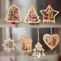 1pc 2D 3D زينة عيد الميلاد خشبية معلقة القلادات نجمة عيد الميلاد شجرة بيل ديكورات عيد الميلاد لحزب البيت في السنة الجديدة نافيداد