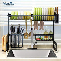 Supporto per asciugatura 65cm supporto per essiccatore Stand per cucina in acciaio inox per stoccaggio spezie Rack angolare piatto a 2 strati