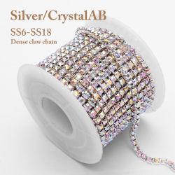 Silberne ABrhinestone-Ketten Ss6/Ss8/Ss10/Ss12/Ss16/Ss18 schließen Cup-Ketten für Kleid-Verzierung